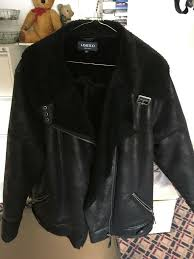 las faux leather flying jacket in black with fur lining size 18 thigh length very good condition