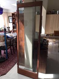 meranti frame sliding glass door with dolphin sandblast design
