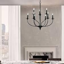 Landhaus Kronleuchter Kerzen Design 9 Flammig In Schwarz