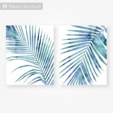 printable watercolor palm leaf wall art set digital download on leaf wall art set with tropical blue watercolor palm leaf wall art set digital files download