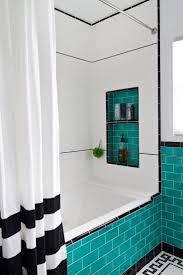 White Shower Curtain With Bottom Horizontal Black Striped Pattern Mixed  Subway Tile Light Blue Ceramic Glass As Well As Shower Curtain Plus Black  And White ...