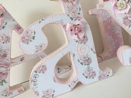 Shabby Chic Pink Roses Decorated Wooden Letters Personalised Free Standing  | eBay