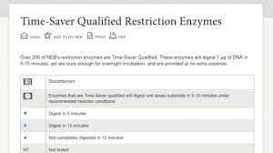 Time Saver Qualified Restriction Enzymes Neb