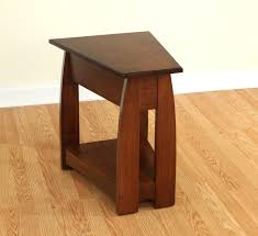 Furniture. quirky small narrow end table in wedge shape with shelf on  creamy laminate wood
