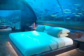 underwater hotel room at night. Purchase: $50,000 Underwater Hotel Room At Night