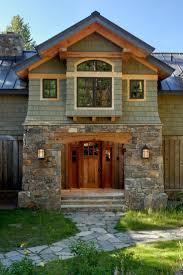 Wyoming custom timber frame home stone entry