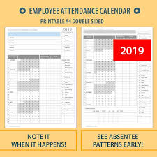 Absentee Calendar 2019 A4 Printable Employee Attendance Calendar Tracker For Hr Etsy