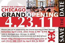 bar grand opening flyer monkey bar gym chicago announces grand opening on 4 23 11