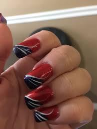 England Flag Nail Designs New England Patriots Nail Art Red White Blue Red Nail