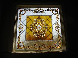 all custom beveled fleur de lis transom window bathroom leaded stained glass window