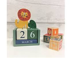 jungle lion wooden perpetual calendar block boys girls kids bedroom gift b07bskgjmw
