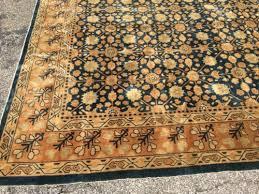 antique oriental rug chinese 9x12 blue art deco handmade wool