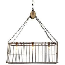 creative coop lighting rusty metal cage chandelier with wood pulley creative co op lighting