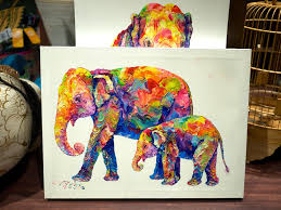 colorful animal canvas elephant colorful elephant paintings oil on canvas painting of a