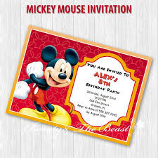 8th Birthday Party Invitations Customized Personalized Mickey Party Invitations Mickey Invites