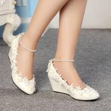 best 25 wedge wedding shoes ideas on pinterest bridal wedges Modern Wedding Flats fashion lace white ivory crystal wedding shoes bridal flats low wedge high heels modern wedding shoes