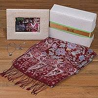 handcrafted photo frame silk shawl and cultured pearl jewelry kiva lotus flowers gift