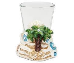 stone shot glass holder palm tree