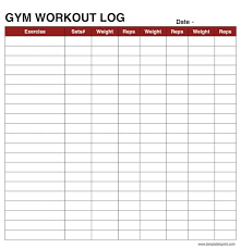 Blank Workout Logs Gym Workout Sheet Templates Workout Sheets Workout
