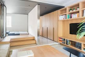 tiny apartment furniture. Furniture Small Apartments Tiny Apartment With Functional Design Wooden Floor And Wardrobe Micro Open F