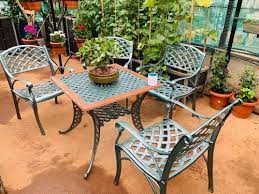 4 seater cast iron garden table chair