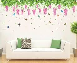0 1pcs set green leaves flowers tv sofa background wall romantic bedroom wall sticker fashion wall poster beautiful wallpaper wall home decor stickers