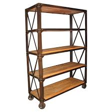 industrial furniture wheels. Chorley Industrial Rustic Metal Wood Rolling Bookcase With Wheels | Kathy Kuo Home Furniture L