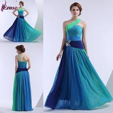 LEV 007 Latest Fashion One Shoulder Floot Length color combinations Chiffon  Evening Dress Prom Gown-in Evening Dresses from Weddings & Events on ...