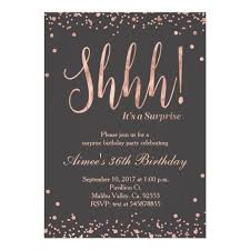 Birthday Party Invitation Rose Gold Surprise Birthday Party Invitation Zazzle Com