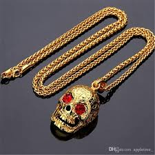 whole skull pendant necklace womens mens hip hop necklaces 18k golden plated hiphop jewelry for men women long gold chain 75cm chains 2018 fashion