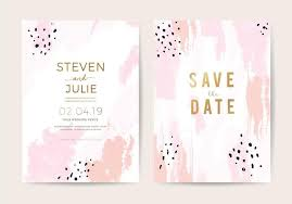 Minimal Wedding Invitation Card Design Template With Pink