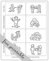 Small Picture Making Good Choices Activity Sheets Activity Choices Coloring