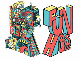an ilration by rob corradetti left and richard mcguire right advertising the funhouse book fair