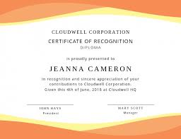 Certificate Recognition Orange Recognition Certificate Design Template Postermywall