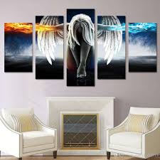 wall art paintings for living room inspirational 2018 framed hd printed canvas art angel with wings