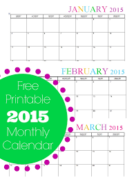 Printable 2015 Calendars By Month Free Printable Monthly 2015 Calendar