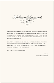 Wedding Thank You Samples Wedding Program Acknowledgements Rome Fontanacountryinn Com