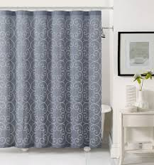 gray and blue shower curtain. slate gray shower curtain with white swirl embroidery and blue