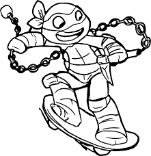 ninja turtle going on skater coloring page jpg 1536 1583 sofii