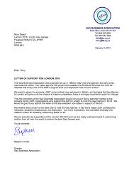 Gay Business Association Letter Of Support | Gay Games London 2018 Bid