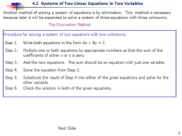 another method of solving a system of equations is by elimination