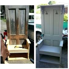 custom hall tree with bench and storage made from year old door newest hall tree made