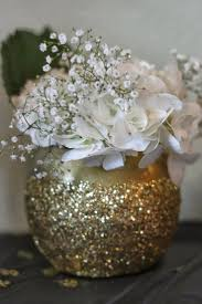 White flowers in a gold glitter vase! black and gold 50th birthday party by  my