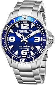 "amazon com stuhrling original mens swiss ""limited edition stuhrling original mens swiss ""limited edition"" professional dive watch solid stainless steel bracelet"