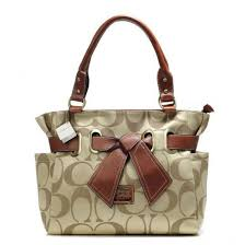 Coach Poppy Bowknot Signature Medium Khaki Totes AMZ,coach crossbody,coach  bags for cheap,Exclusive