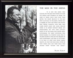 Theodore Teddy Roosevelt The Man In The Arena Quote 8x10 Framed Picture Black And White With Teddy Giving Speech