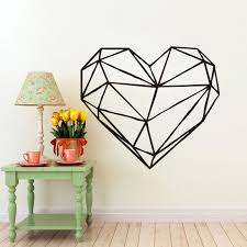 Small Picture Aliexpresscom Buy Geometric Heart Wall Decal Art Design