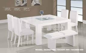 Small Picture Contemporary White Wood Middle Frosted Glass Dining Table Set