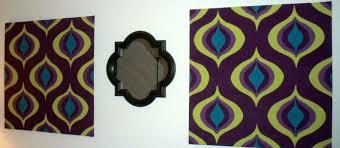 diy fabric and foamboard painted wall art the decor guru auburgine chartreuse turquoise mod pattern on foam board diy wall art with diy fabric and foamboard wall art the decor guru