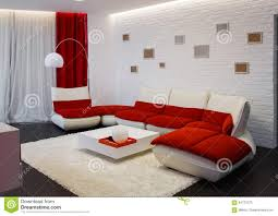 Living Room With Red Furniture Modern Living Room Interior With Red Sofa Stock Photo Image